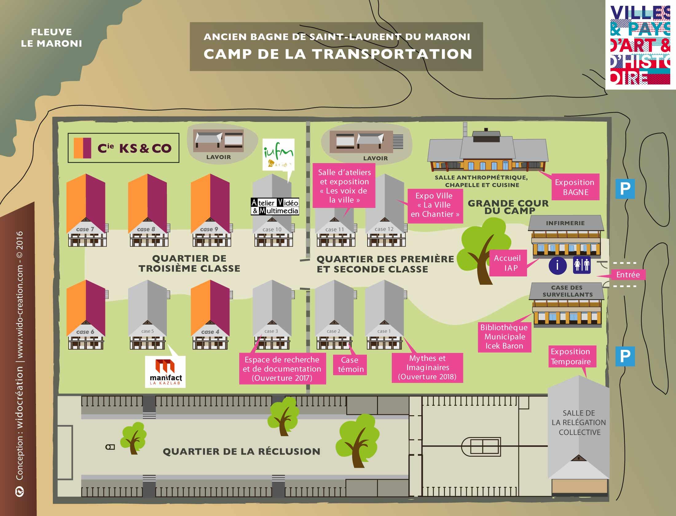 Plan du camp de la Transportation - Locaux de la Compagnie KS and CO - Saint-laurent du Maroni - Guyane